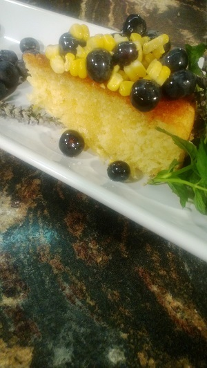 Sweet Corn Cake With Blueberry-Lavender Compote Recipe ...